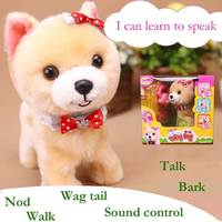 、Robot Dogs Walking Bark Talk Toy Sound Control Puppy Electronic Toys Interactive Plush Pet Dog Toys For Children Birthday Gifts
