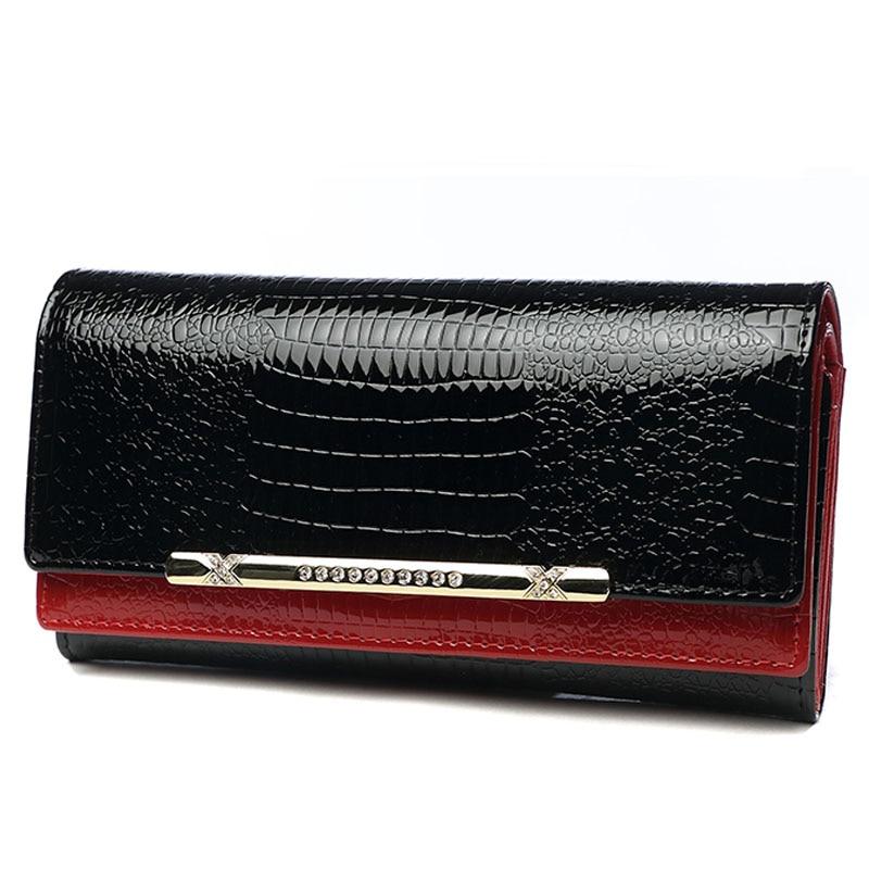 Fashion Banquet Bag Woman Long Clutch Wallet Genuine Leather Serpentine Diamonds Bride Purse Clutches Lady Coin Bag Card Holder