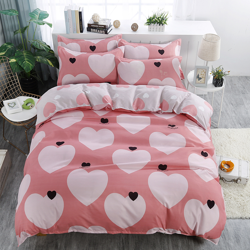 Cute Cartoon Light Red Black Heart Pattern Duvet Cover Set Bedding Sets 4Pc Quilt Cover And Pillowcases Twin Double Quee 5 Size