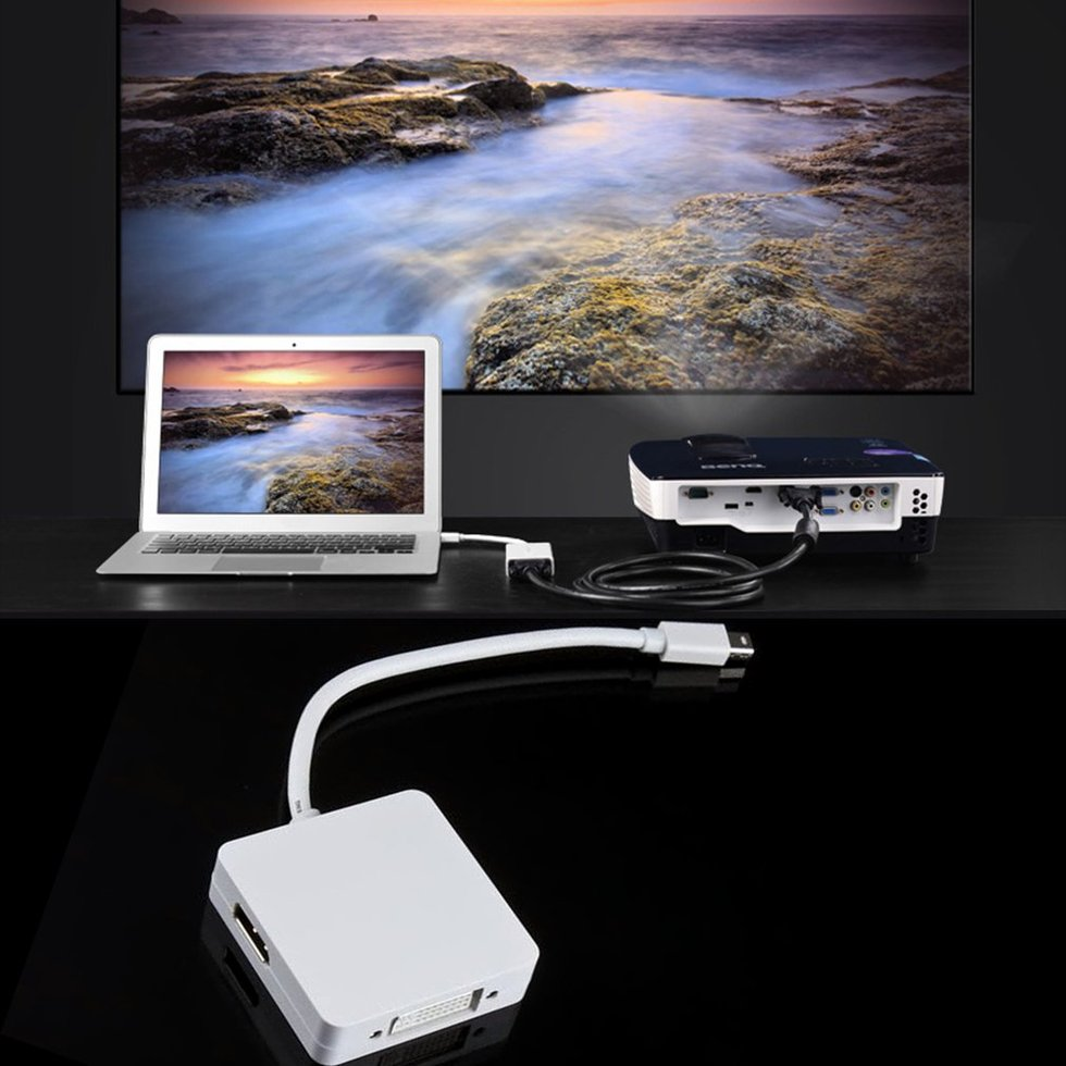 5 pièces 3 en 1 Mini Displayport vers DP HDMI DVI adaptateur câble affichage pour MAC Pro AIR