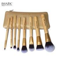 Профессиональный 8 шт. золото Make Up Расчёски для волос набор природы Расчёски для волос Инструменты для красоты Макияж Кисточки с мешком