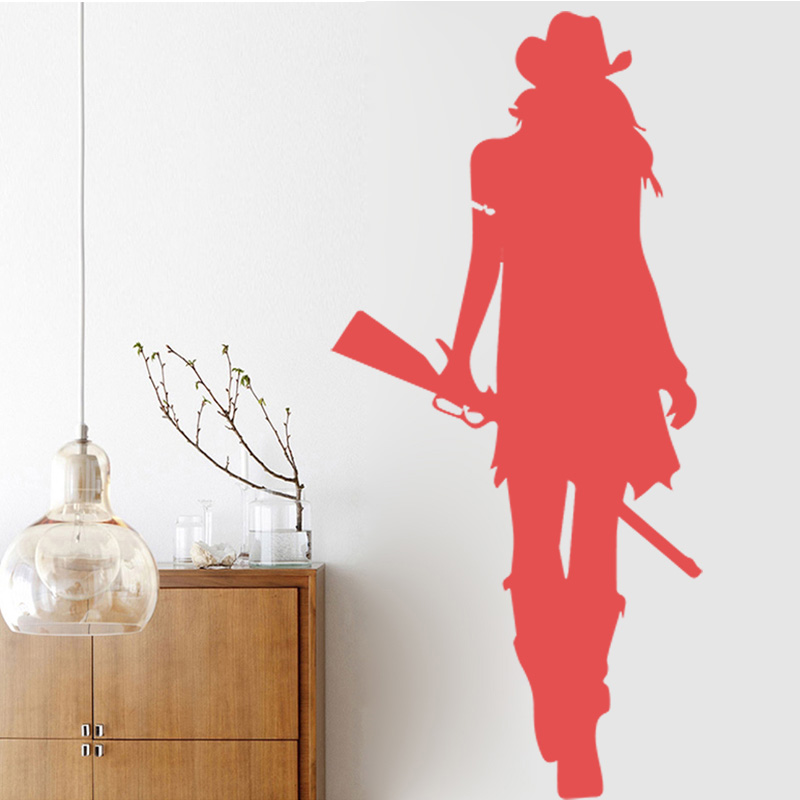 Cowgirl Wall Stickers Texas Wild West Rifle Gun American Style Home Decor Living Room Art Stickerdie Design Sticker