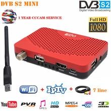 Mini tamanho MPEG 4 hd tv sintonizador dvb s2 receptor digital receptor de satélite com wifi + cccam linha suporte iptv youtube conjunto caixa superior