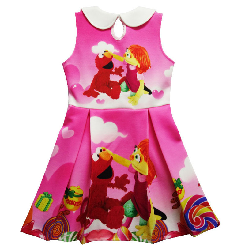 566c2f7b1 Momoda 2017 Children Baby Girl Dress Sesame Street Elmo Cartoon Print  Sleeveless Summer Dress For 3 8Yrs Girl Party Costume-in Dresses from  Mother & Kids on ...