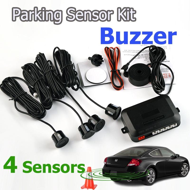 imágenes para 4 Sensores Zumbador 22mm Kit de Sensores de Aparcamiento de Reserva del Revés Del Coche Indicador de Radar de Alerta de Sonido Sistema de Sonda 12 V 7 Colores Envío gratis