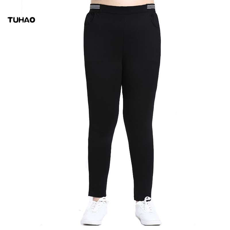TUHAO 10XL 8XL 6XL Clothing Women Large Size Striped Spilced Pencil Trousers High Elastic Waist Bodycon Pencil   Pants     Capris   MS24