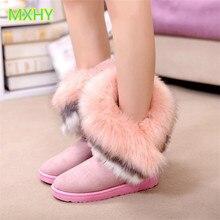 MXHY/новые зимние ботинки с мехом лисы и кроличьей шерсти женские зимние ботинки теплая хлопковая обувь для мальчиков и девочек средней школы