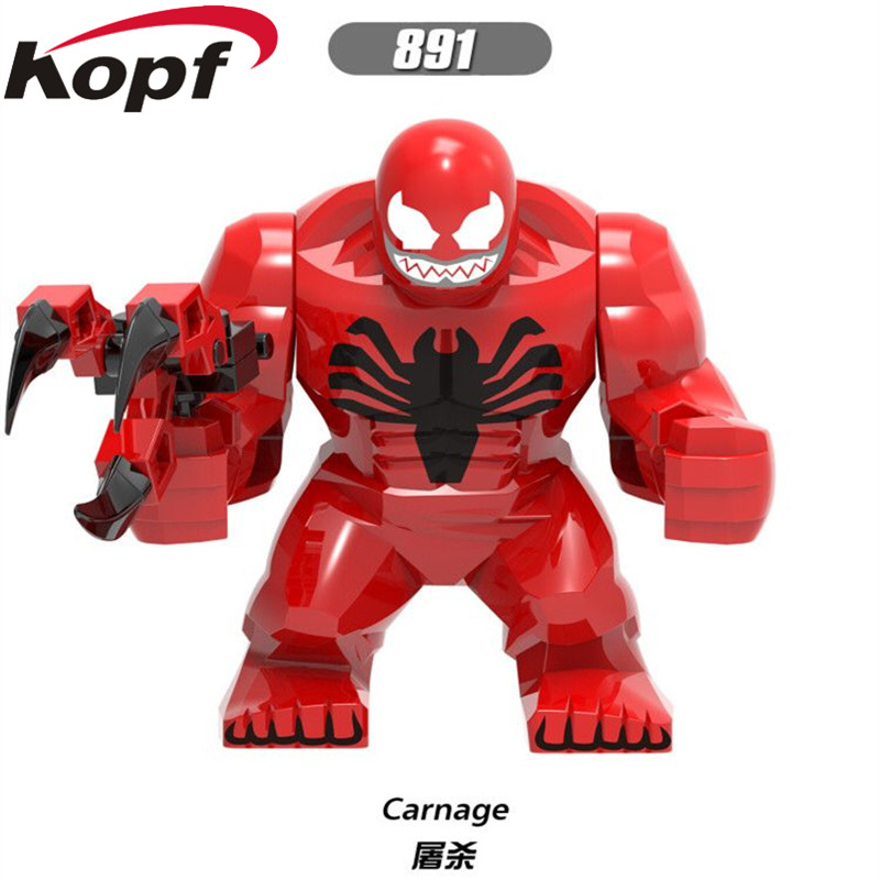 XH 891 Single Sale Super Heroes Big Size Thing Venom Carnage The Son Of Toxin Hulk Thor Moana Building Blocks Children Gift Toys