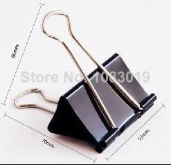 24pcs/lot 51mm 9541 Black Metal Documents Binder Clips/Memo Clip iron binder clips iron purse dovetail Large metal paper clip free shipping factory supply 10pcs 50x20mm large size paper clips 7 colors available large wide paper clips on promotion