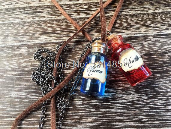 12pcs/lot Mana & Health Potion Necklaces  RPG/Video Game Inspired Necklaces