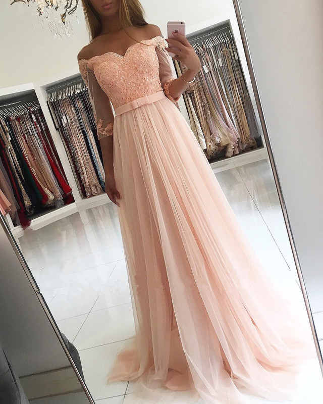 Peach 2018 Prom Dresses A Line Half Sleeve Tulle Lace Beaded Women