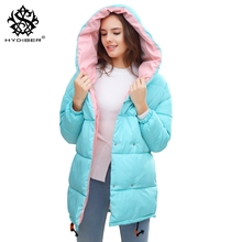 hydiber Winter Women Long Sleeve Black Loose Warm Parka 2017 New Arrival Female Sky Blue outwear Girls Tops Hooded Coats Plus XL