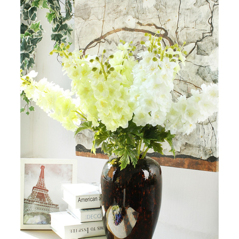 Xinaher Artificial Flowers Fake Delphinium Flower With Leaf Posy