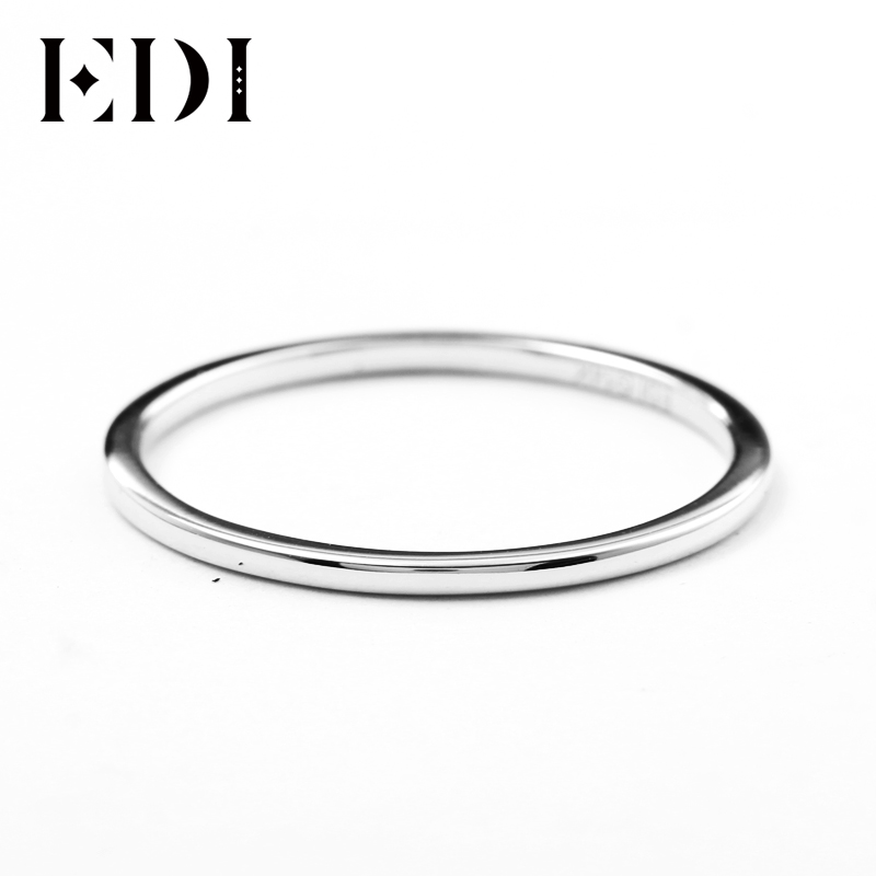 EDI 1mm Thin Domed Wedding Band in 14K White Gold Classic 585 Solid Gold Ring Band For Women All-Match Band Gift цена 2017