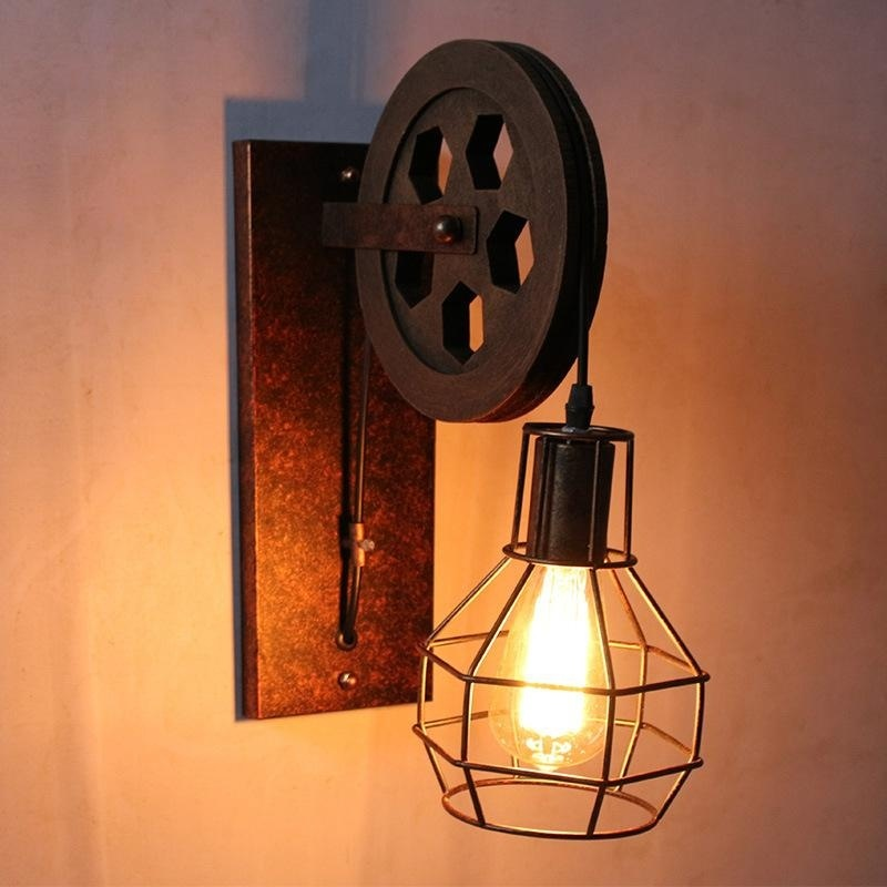 Retro wall lamp European antique wrought iron old pulley lifting pulley wall lamp Corridor aisle decorative wall lamp wall light
