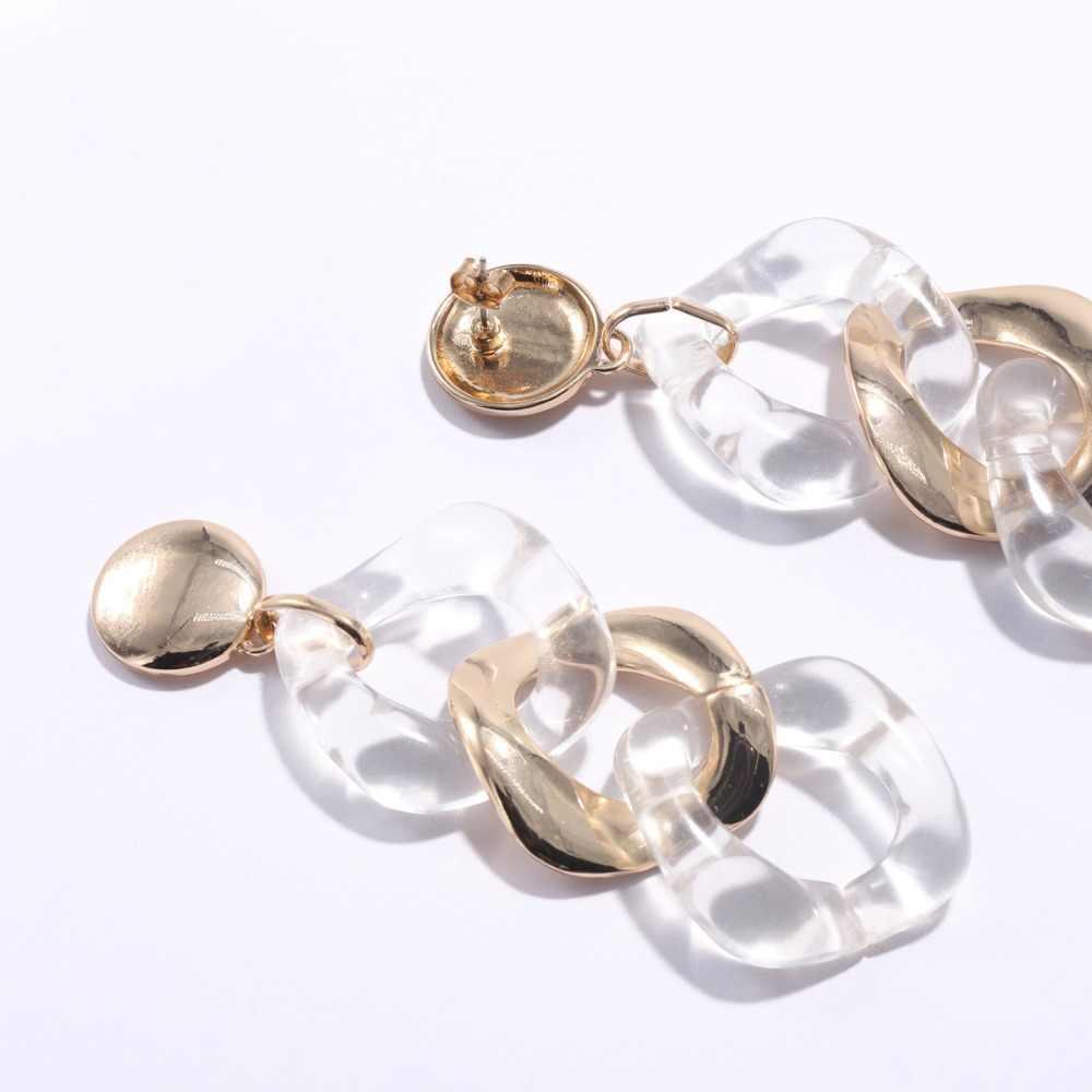 WEALTHYBOO  2018 New Arrival Link Metal Acrylic Earring Modern for Women Fashion Jewelry