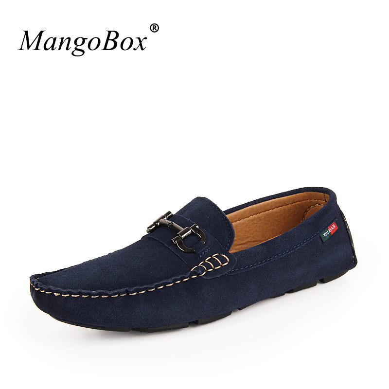 MangoBox Popular Men Fashion Shoes Blue Red Boys Designer Sneakers Metal fashion Male Loafers Suede Leather Mens Casual Footwear