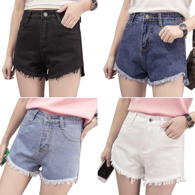 2018 Summer Korean Fashion Denim Shorts Womens Retro Tassel Jeans Shorts Female Irregular Wide Leg Denim Shorts Womens Clothing