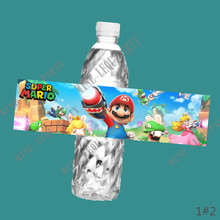 6PCS Super Mario Bros Water bottle label kids Birthday Party Stickers Baby Shower candy bar thanksgiving decorations for home(China)