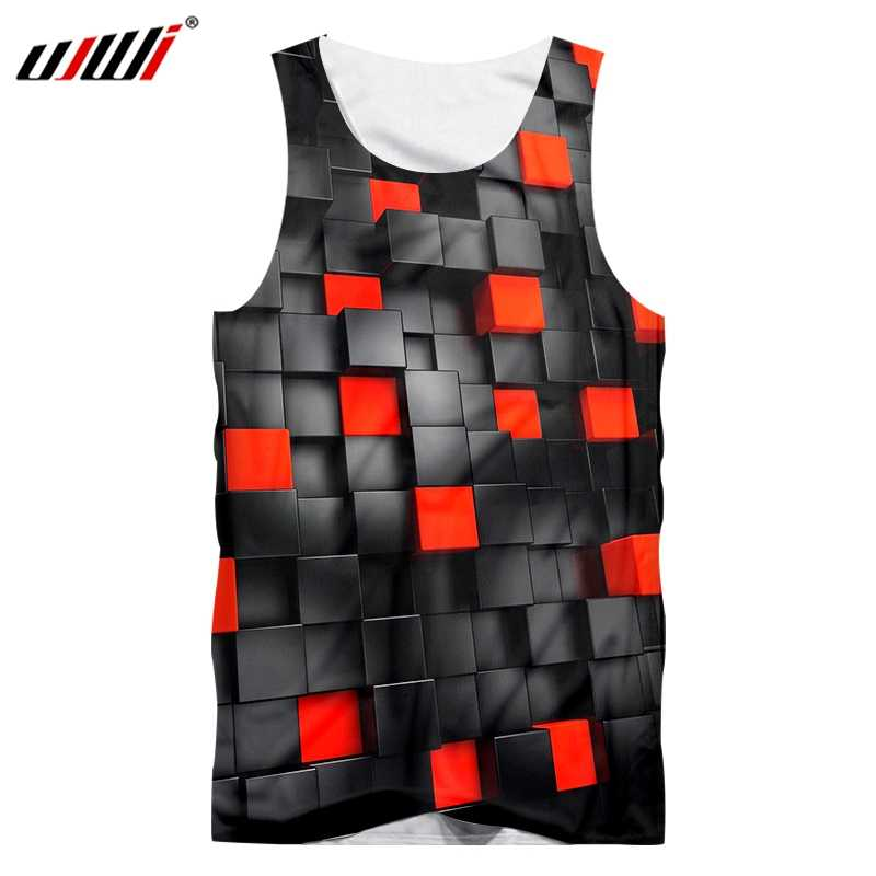 UJWI 2019 Fashion Zwart/Rood Vierkant Tank Top 3d Printing Hip Hop Grappige mannen Casual Zomer Vest
