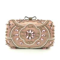 2019 top quality women beads evening clutch bags wedding dinner bags with chain handmade flowers clutch purse MN1371