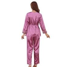 d694d91421 Autumn Winter Pajamas for Women Purple Gold Pink Silk Pajama Set Sexy  Lingerie Sleepwear Christmas Clothes