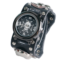 Modern Rock Stylish Skull Wrist Watch Men Sport Leather Band Strap Gift Quartz Watches Gift For