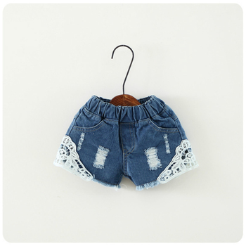 2018 summer baby girl shorts fashion girls lace Floral shorts jeans kids denim shorts Panties 2-12 Y baby wear 4