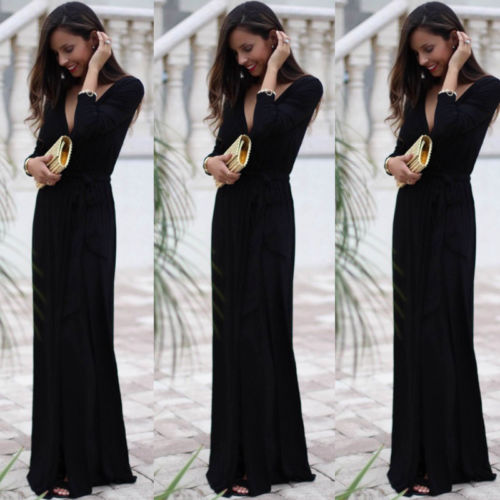 3eaa2ada45 Sexy Women Boho Black Long Maxi Dress V Neck Split Evening Party Beach  Dresses Sundress Summer Clothes-in Dresses from Women's Clothing on  Aliexpress.com ...