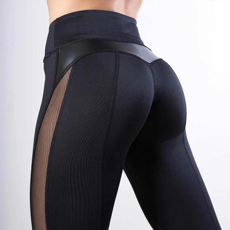 Mulheres de Fitness Legging preta Coração Treino Legginngs Femmle Mesh E PU de Retalhos de Couro Leggings Calças Sólidos