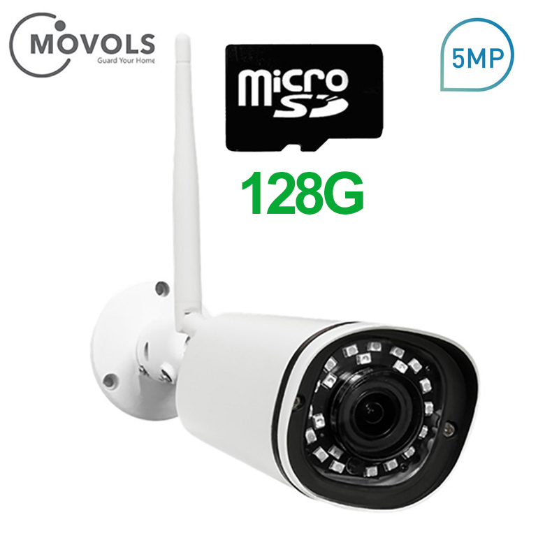 MOVOLS 5MP WIFI Video Surveillance Ip Camera 128G SD Card PoE HD font b Outdoor b