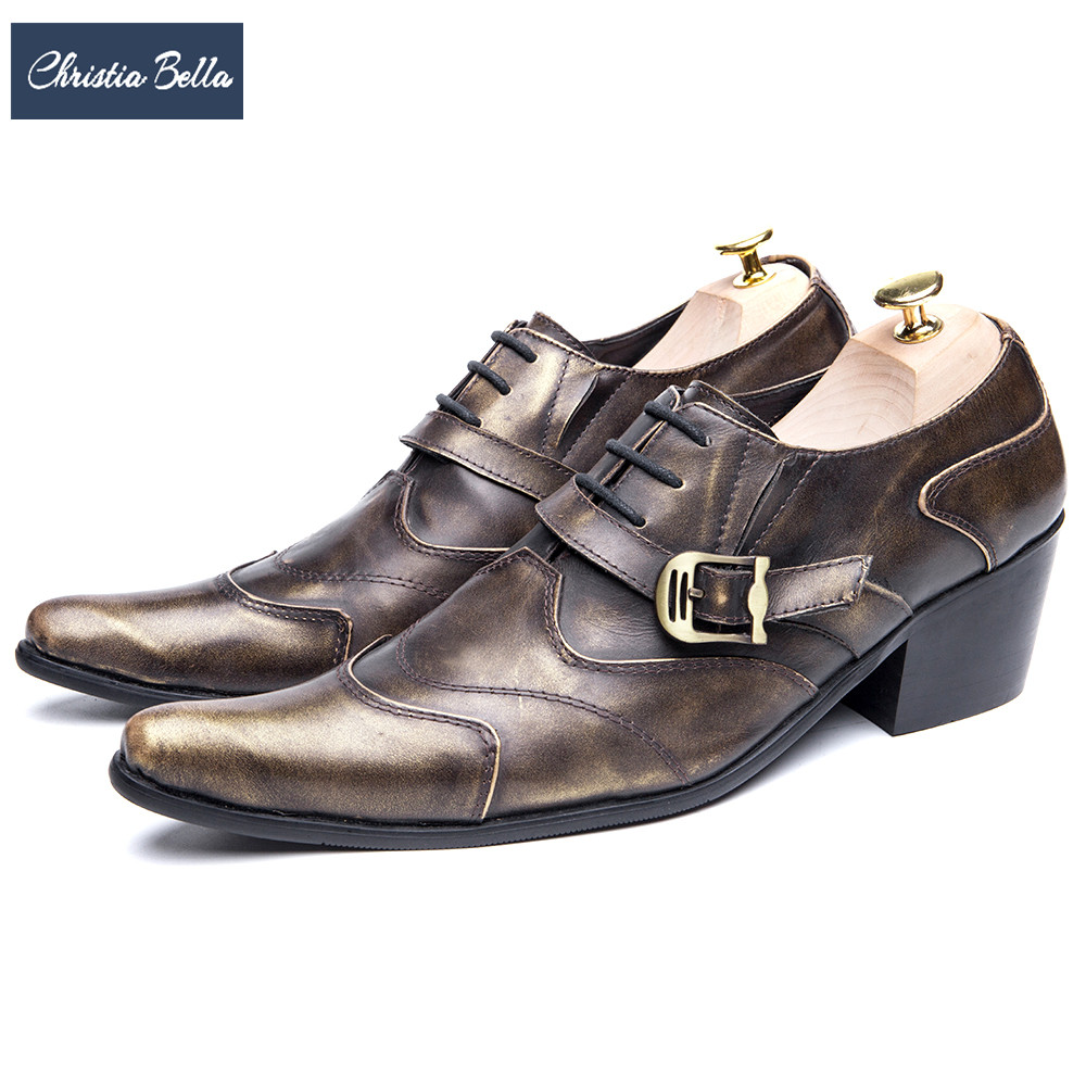 Christia Bella Fashion Brand British Style Genuine Leather Formal Men Shoes Business Wedding Pointed Toe Buckle Men Oxford Shoes christia bella fashion men oxford shoes genuine leather black white business men dress shoes lace up office wedding formal shoes