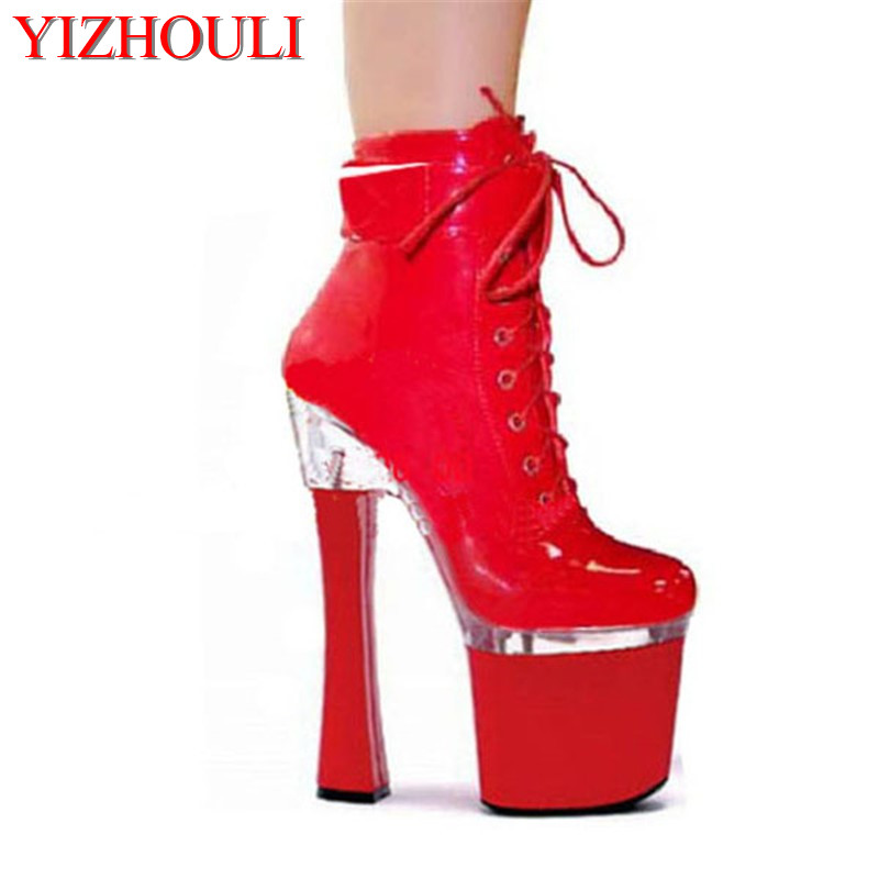 7 Inch Stiletto With Platform sexy women motorcycle boots 18cm high heel ankle boots strappy Dress shoes ...