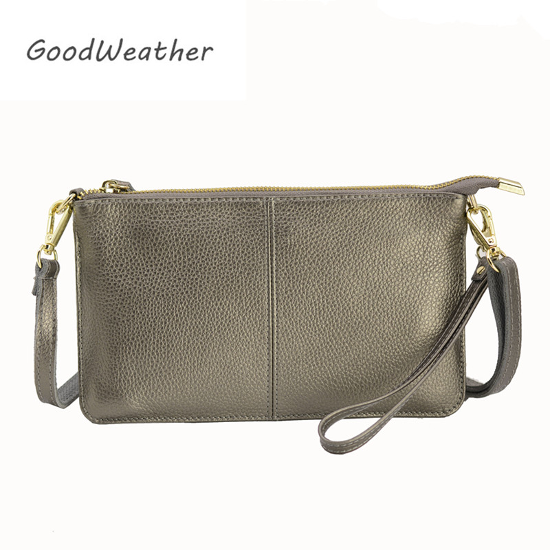 Designer Clutch Bag Women Genuine Leather Handbags Bronze Fashion Zipper Leisure Envelope Clutches Female With Strap 9colors