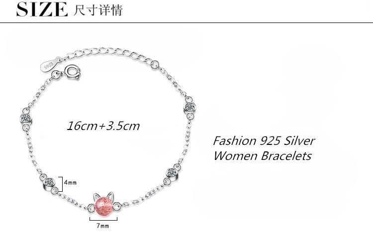 LUKENI New Fashaion 925 Sterling Silver Bracelets For Women Jewelry Charm Zircon Pink Cat Bracelets For Girl Party Accessories in Charm Bracelets from Jewelry Accessories
