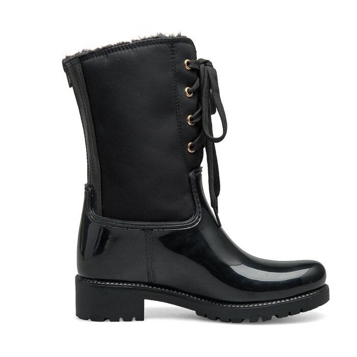 Femmes Chaussures Étanche Glissière Rouroliu Rainboots Chaude Court Dentelle up slip D'eau Tr213 Pluie Fourrure Non Dos Black Bottes Talons Au Femme Carré pfUqnwf4d