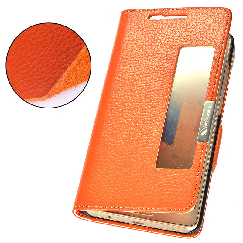 Smart + Real Genuine Natural Leather Skin case for Huawei Mate 9 Pro 5.5 Phone Cover Flip Magnetic Pouch View Window Mate9 Pro
