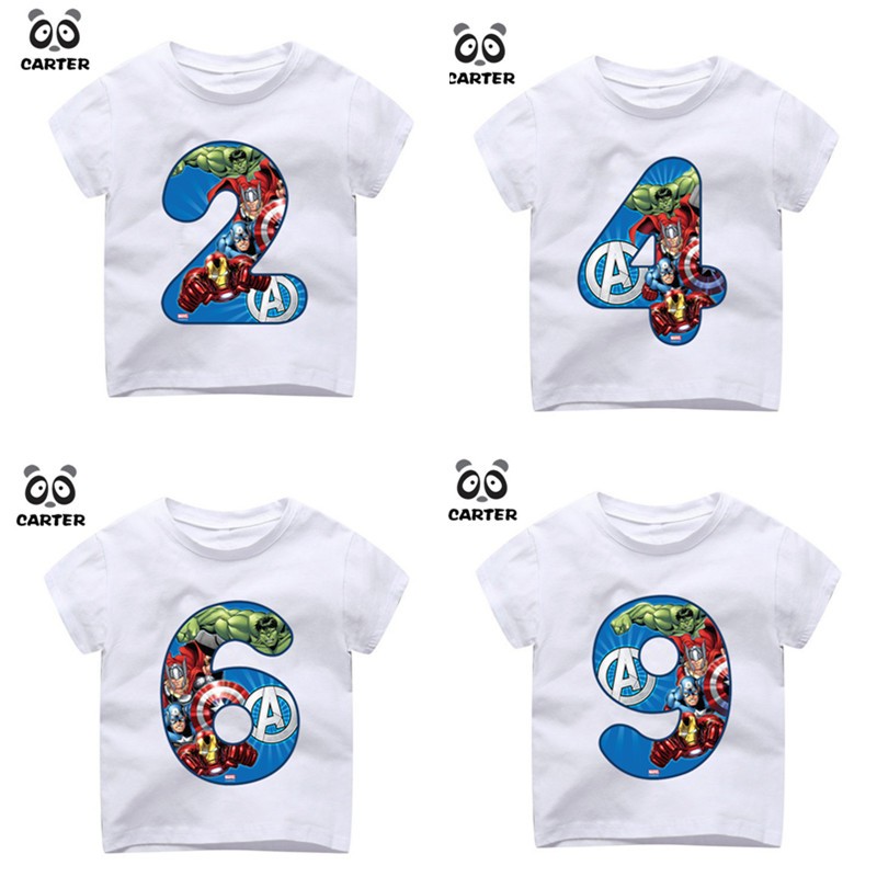 Kid's Happy Birthday Avengers Number 1~9th T-shirts Boy and Girl Superhero Tshirt Baby Spiderman Number Top Children Clothes женская футболка other 2015 3d loose batwing harajuku tshirt t a50