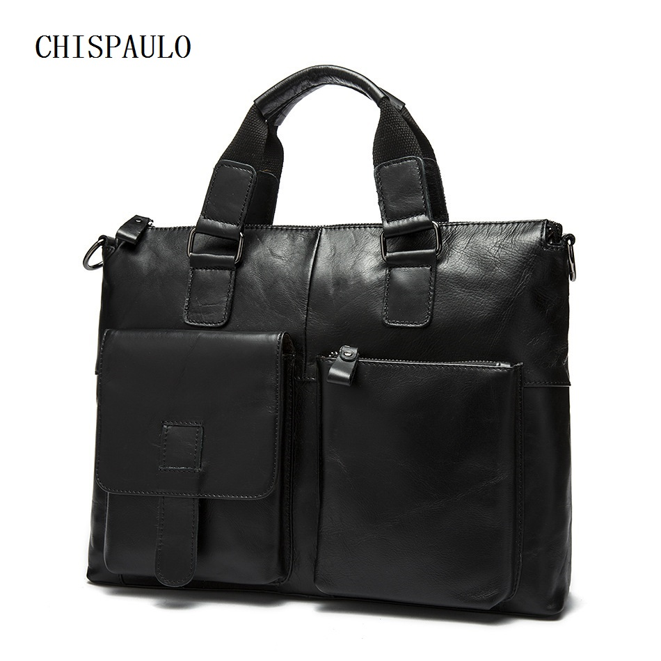 CHISPAULO Genuine Leather Bag Fashion Handbags Cowhide Men's Travel Bag Tote Laptop Briefcases Men Bags large capacity new T668 guaranteed 100% natural genuine leather men bag shoulder tote leather men travel bags men s bags handbags large size