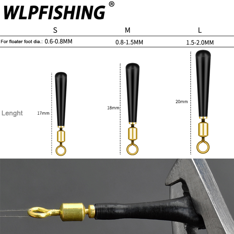 WLPFISHING 10pcs/lot Fishing Float Holders 360 Degree Rotating Freely Swivels Copper Silicone Fishing Accessory Good Helpers