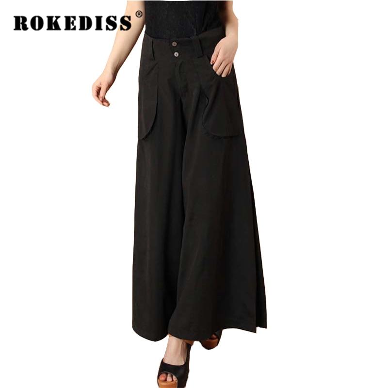 2017 Plus Size Spring Autumn Women Solid Wide Leg Loose Dress Pants