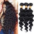 Перуанский девы волос 3 связки рыхлый глубокий человеческих волос короткие человеческие волосы глубокая волна необработанные девственные волосы ткать Пучки