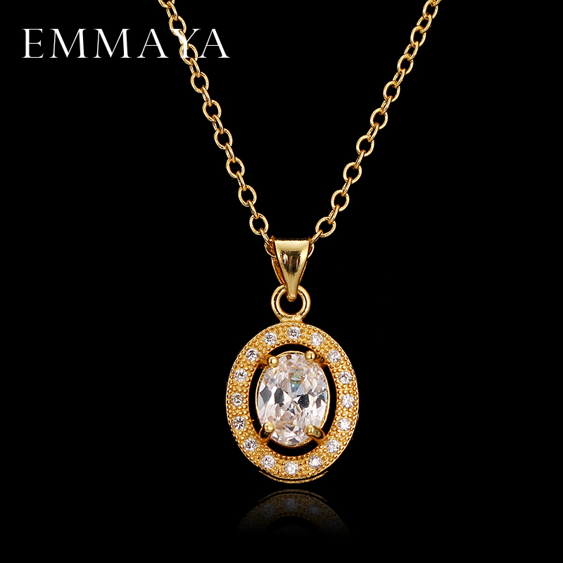 EMMAYA Luxury Cute Oval AAA Cz Necklaces Pendants Gold Color 45cm Chain Necklace Wedding Cheap Jewelry