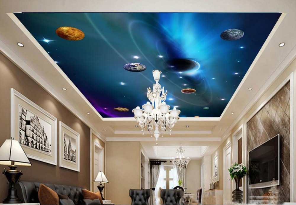 Custom 3d ceiling murals wallpaper Planet Star 3d wallpaper for ceiling for living room non-woven ceiling murals mural wallpaper 3d home decoration cherry trees 3d wallpaper living room ceiling non woven wallpaper ceiling