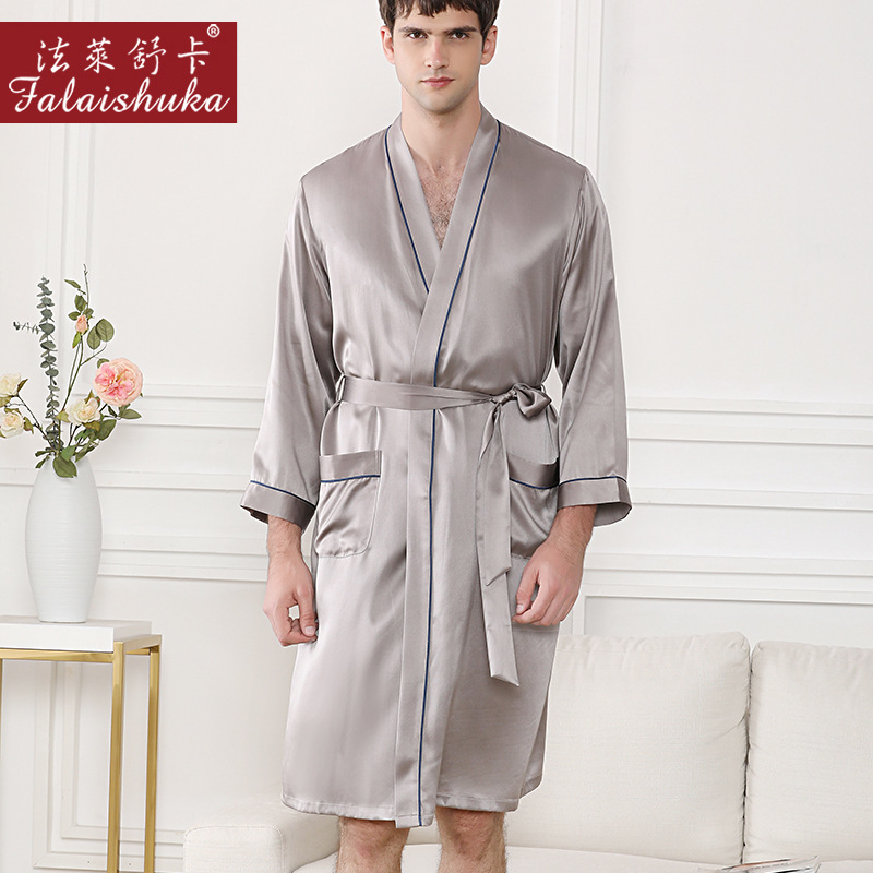Noble Silver Gray 100% Mulberry Silk Robes Men Simple Long Sleeve Autumn 19 Momme Real Silk Male Home Casual Elegance Men Robes