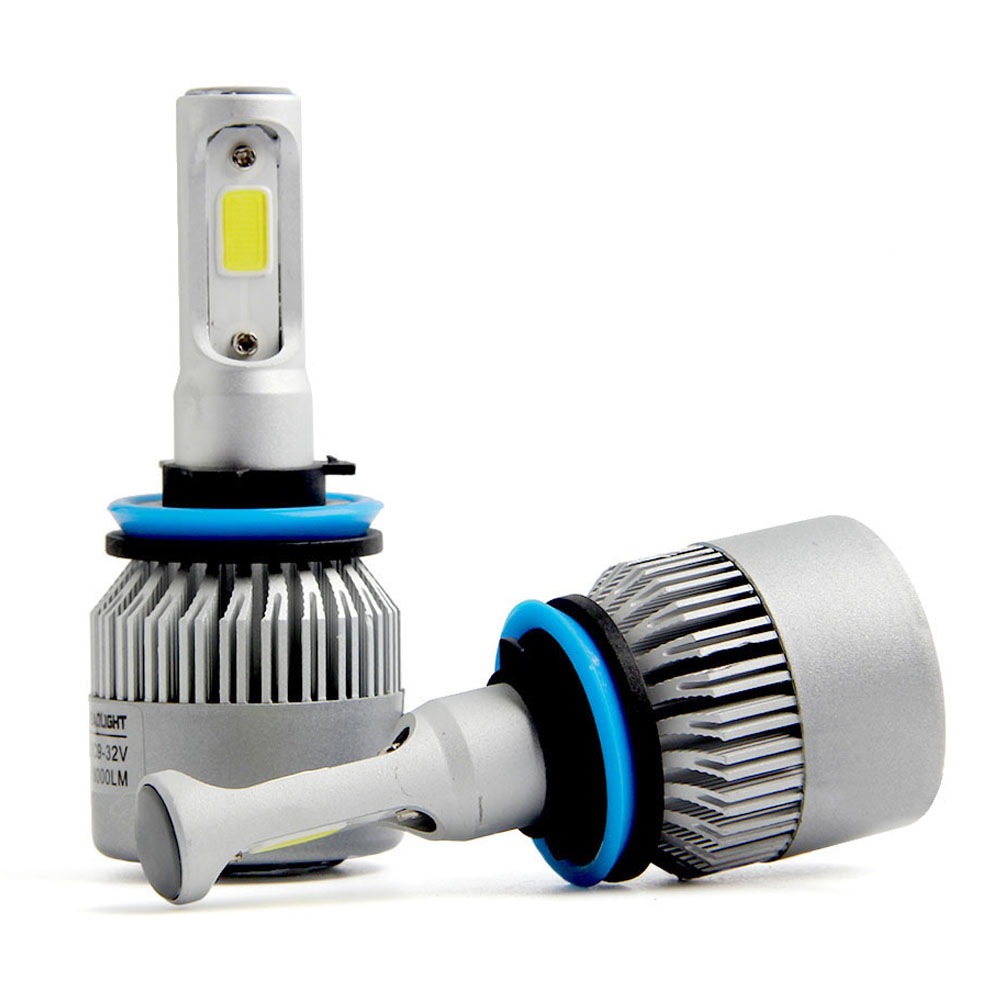 2PCS H11 LED Headlight Automobiles COB 72W 6500K Car LED Light 12V Auto Fog Running Lamp Bulb For Cars Light 2pcs set 72w 7200lm h7 cob led car headlight headlamp auto lamps led kit 6000k headlight bulb light car headlight fog light