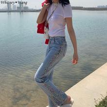 WHITNEY WANG Летняя мода уличная сторона цвета Бриллианты Женские джинсы брюки