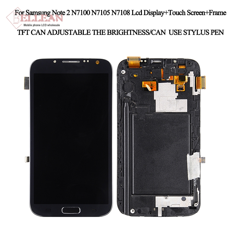 Affichage N7100 pour écran Lcd Samsung Galaxy Note 2 avec écran tactile N7108 écran LCD avec cadre + bouton d'accueil