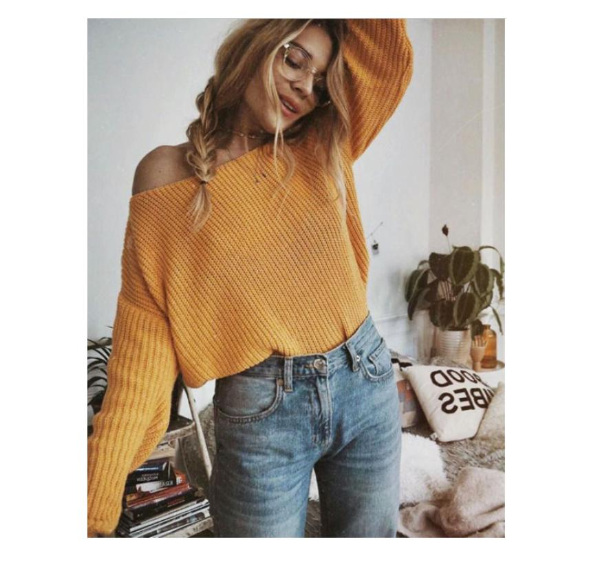Sweaters Women Long Sleeve Oversized Shirt Loose Knitted Sweater Jumper Pullover Puff Sleeve Sweaters