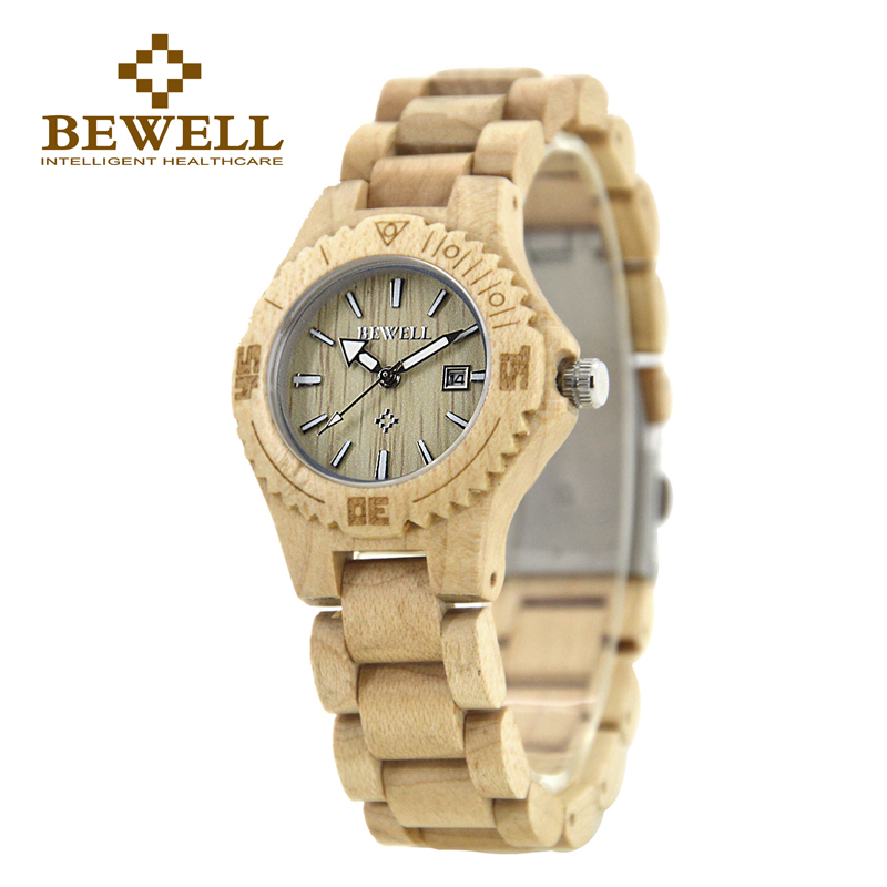 BEWELL 2017 new Luxury Brand Wood Women Watches Fashion Calendar Display Luminous pointer Montre Femme Relogio with Box 020A